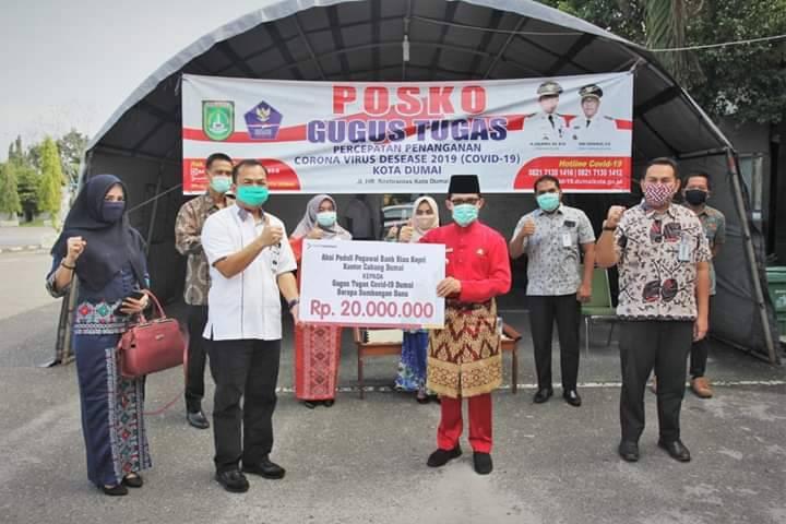 Bank Riau - Kepri Serahkan Bantuan Covid 19 ke Pemko Dumai