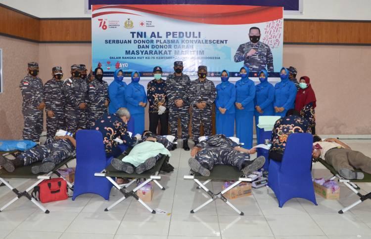 TNI AL LANAL Dumai Gelar Serbuan Donor Plasma Konvalesen dan Donor Darah Dalam Rangka HUT Ke 76 Kemerdekaan Republik Indonesia