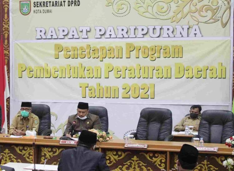 PENETAPAN PROPEMPERDA TAHUN 2021, DPRD Kota Dumai Gelar Rapat Paripurna